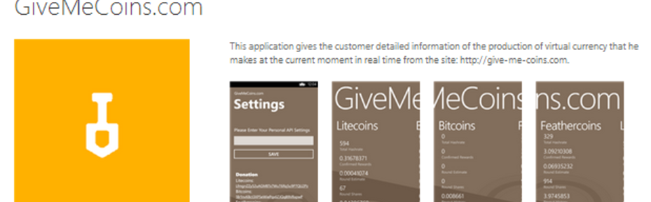 give-me-coins Microsoft Windows Phone Application